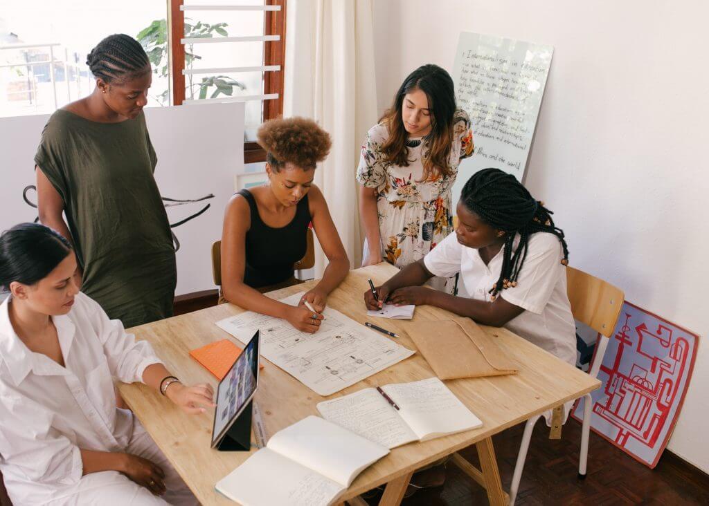 working women at meeting