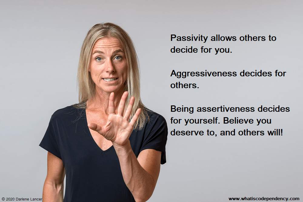 assertiveness quote, woman motioning stop